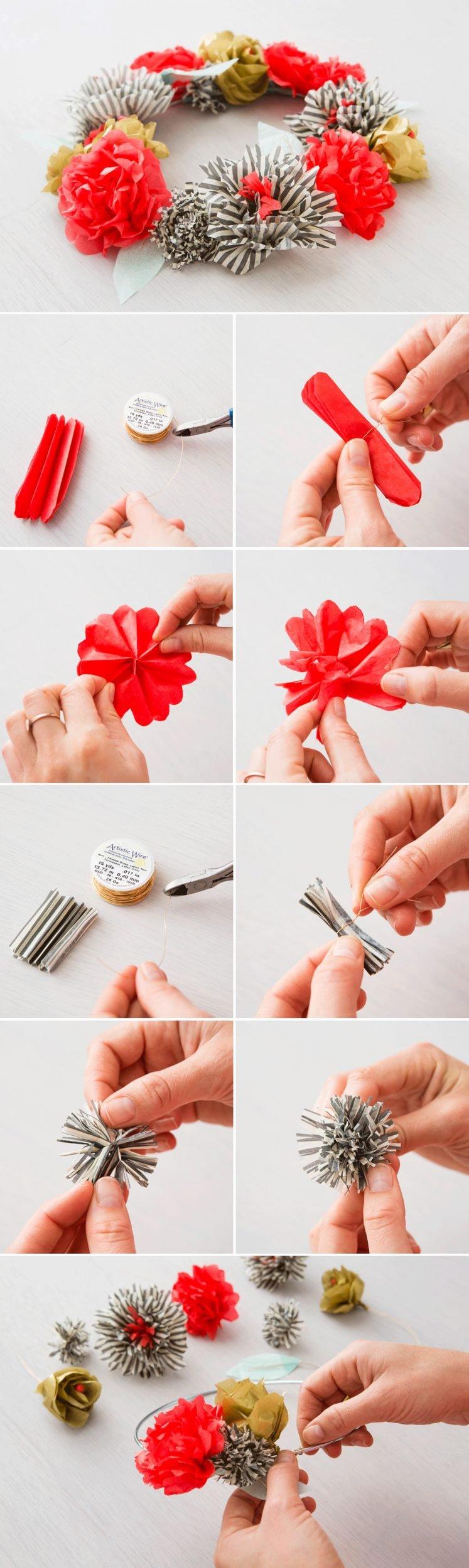 Stoffblumen selber machen oder DIY Blumenkranz aus Papier selber machen
