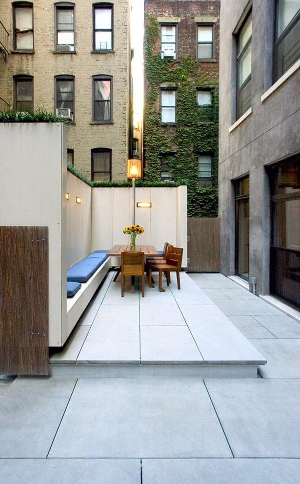 dachterrasse gestalten ideen tipps wohnung mit dachterrasse bodenbelag beton
