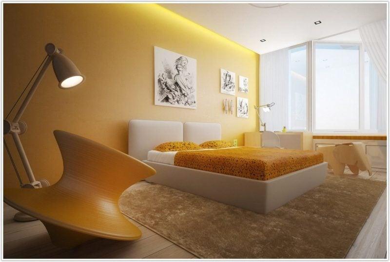 wandgestaltung schlafzimmer ideen gelb wandfarbe kleine räume wohnideen