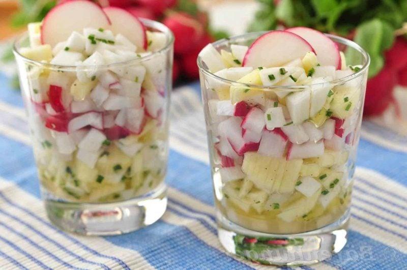 Radieschen kalorien gesunder Salat mit Äpfel und Radieschen