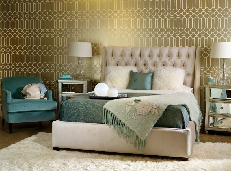 wandgestaltung schlafzimmer ideen grün golden akzente wohnideen