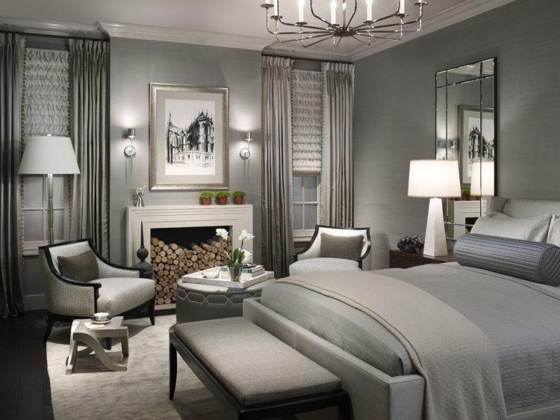 wandgestaltung schlafzimmer ideen grautöne eleganz