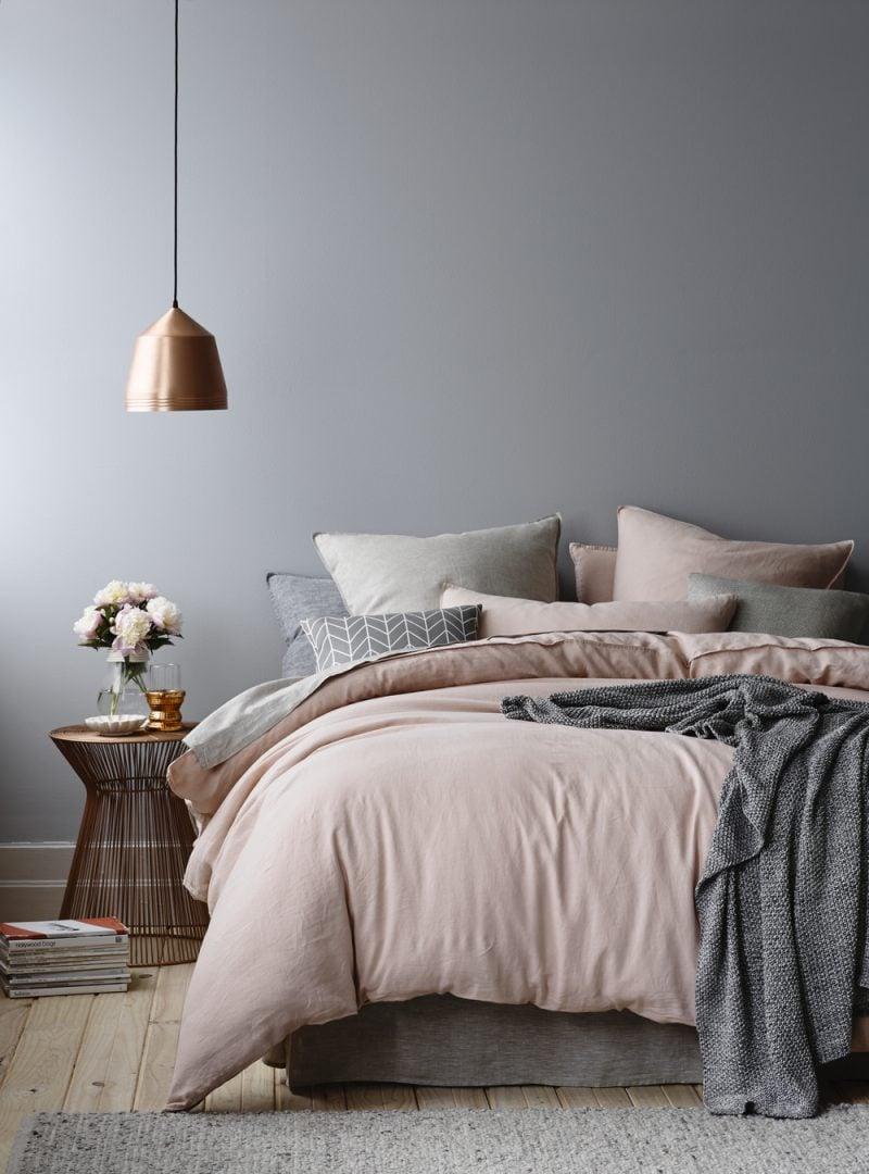 wandgestaltung schlafzimmer ideen rosa grau wandfarben