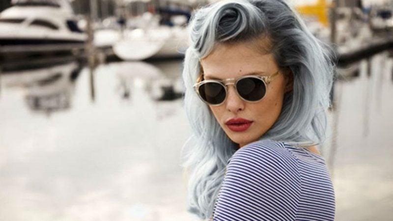 Grautöne - Ombré Blaue Haare