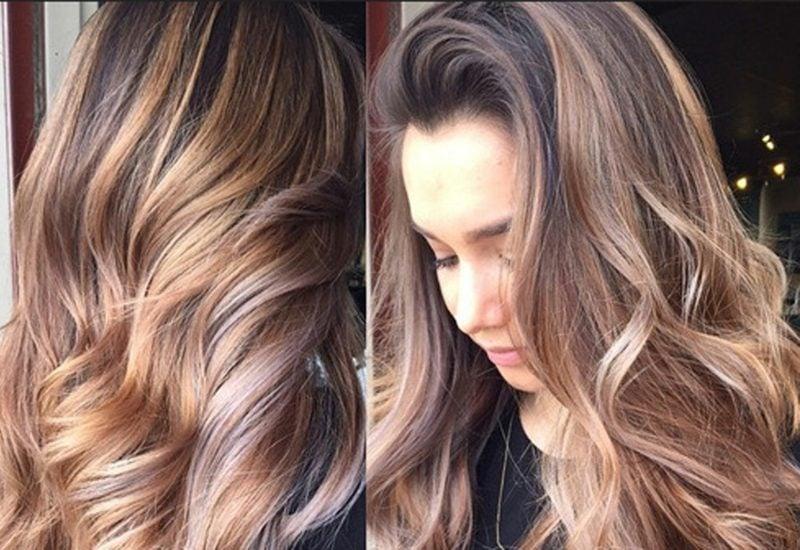 Hellbraun Haarfarbe Palette lockige Haare Volumen