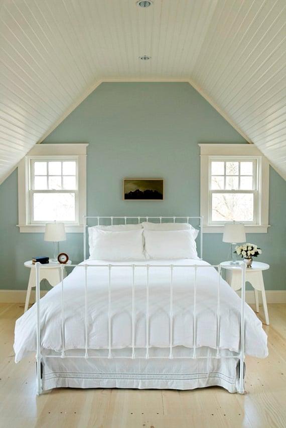 Schlafzimmer Weis Mint #19: Wandgestaltung Schlafzimmer Ideen - 40 Coole Wandfarben, Schlafzimmer
