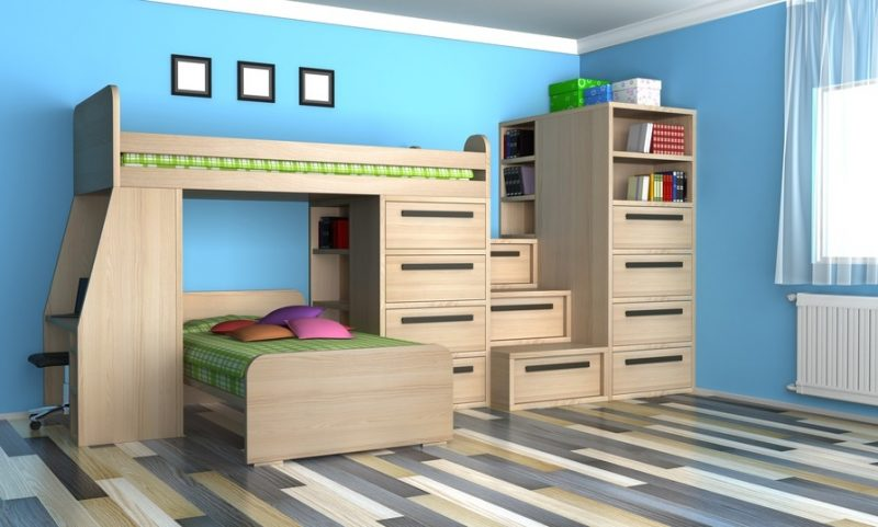 kinderzimmer ideen bett holz wandgestaltung blau kinderzimmer einrichten