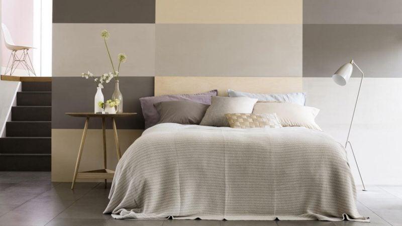 wandgestaltung schlafzimmer ideen cremiges weiß helles braun