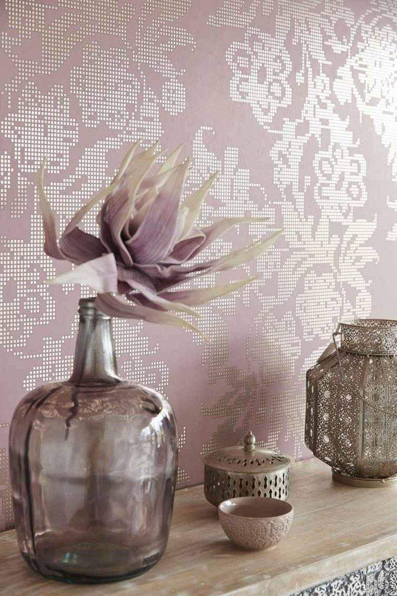 moderne Stofftapeten Farbe Altrosa
