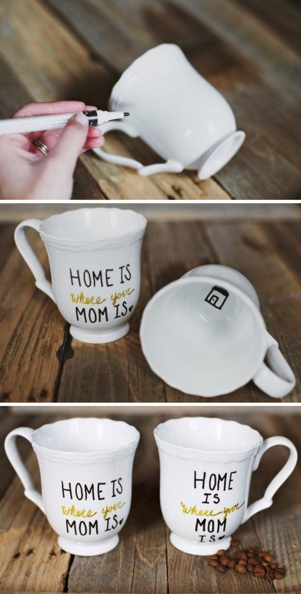 Muttertagsgeschenke selber machen: Geschirr und Tassen bemalen