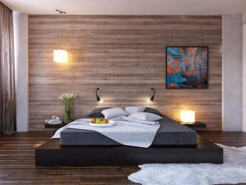 wandgestaltung schlafzimmer ideen braun wandfarbe