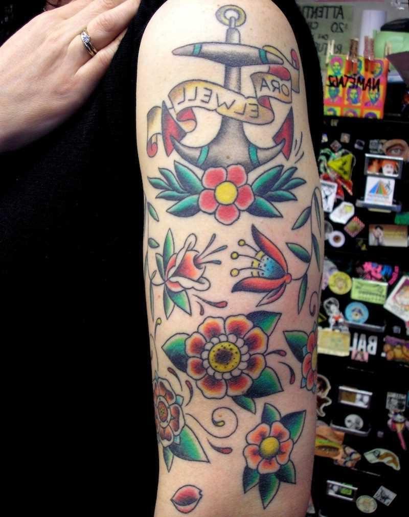 Old School Tattoo Blumen