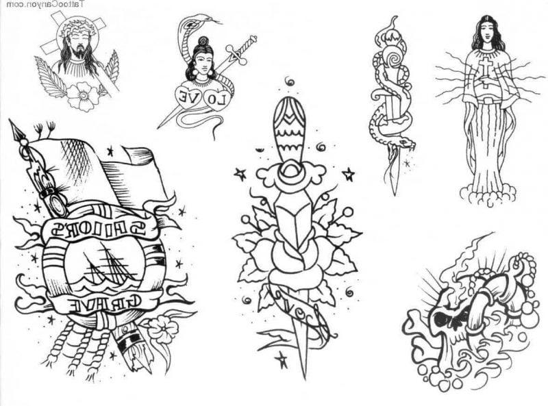 Old School Tattoo Vorlage zum Ausdrucken