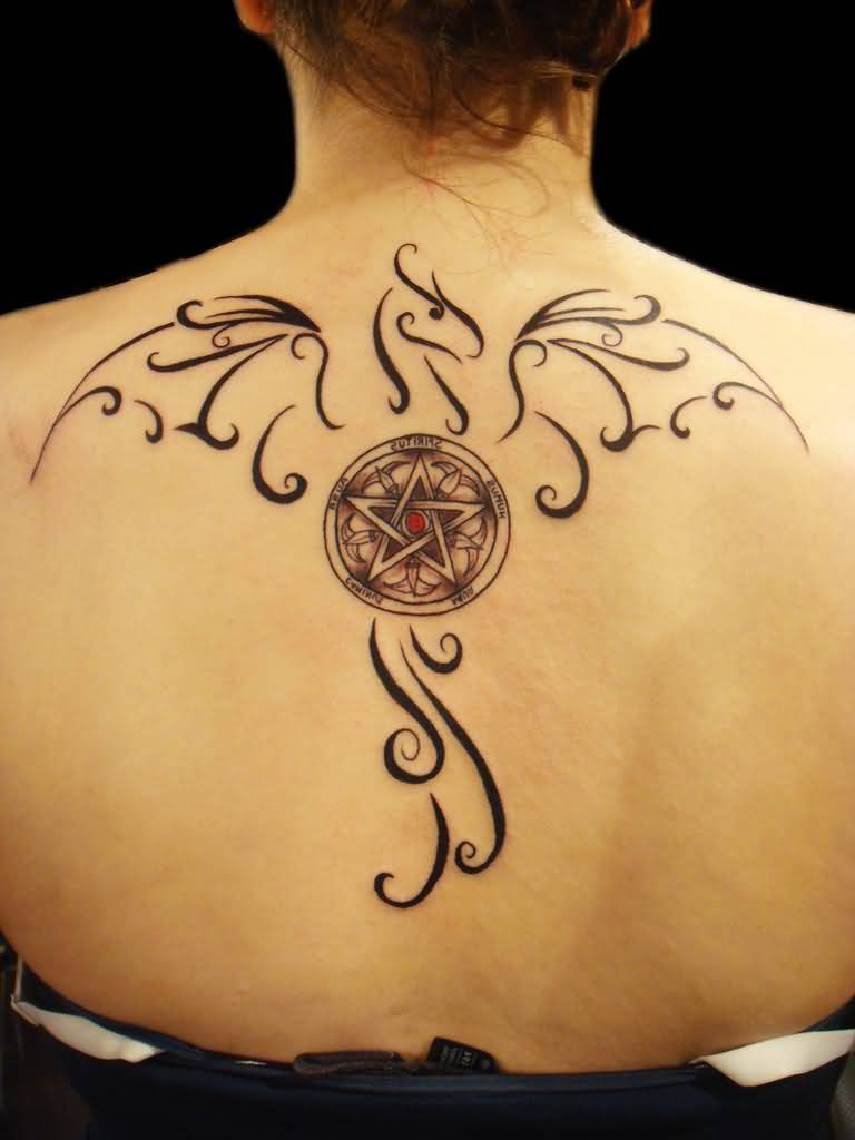 Pentagram Tattoo Frauen Rucken