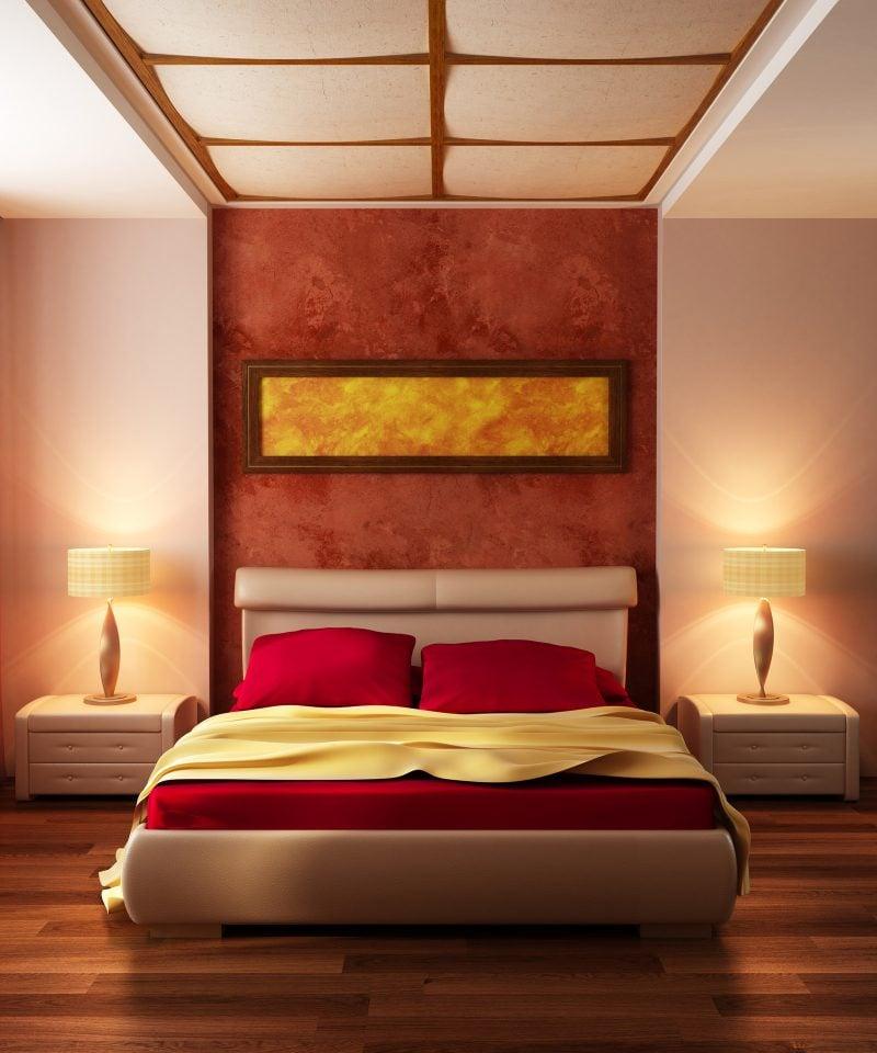 wandgestaltung schlafzimmer ideen rot wohnideen wandfarben
