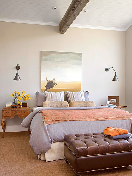 wandgestaltung schlafzimmer ideen wandfarben rustikaler einrichtungsstil