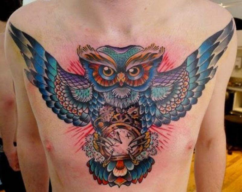 brust tattoo schrift owl