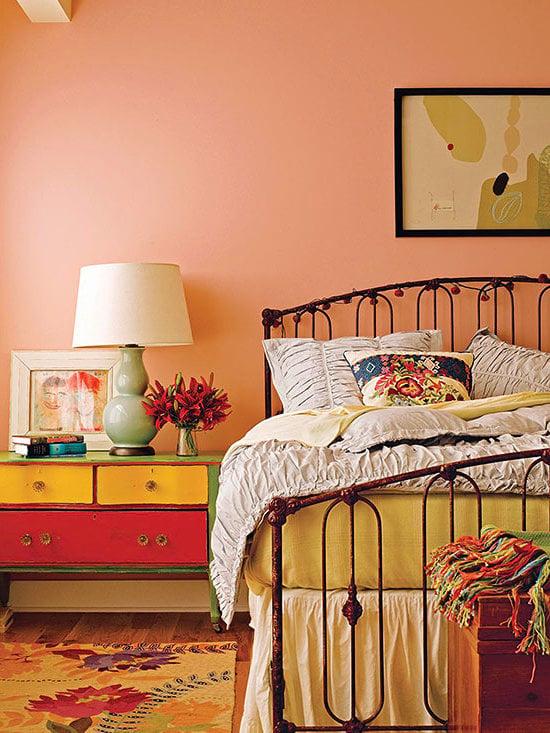 wandgestaltung schlafzimmer vintage look wohnideen wandfarbe