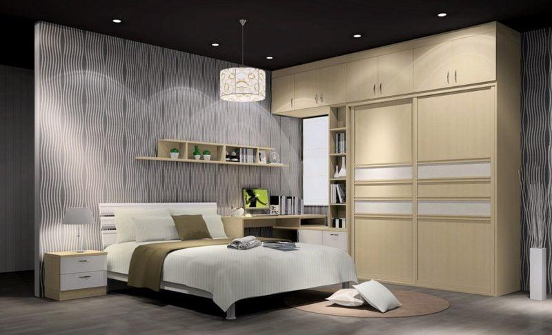 wandgestaltung schlafzimmer ideen grau wandfarbe