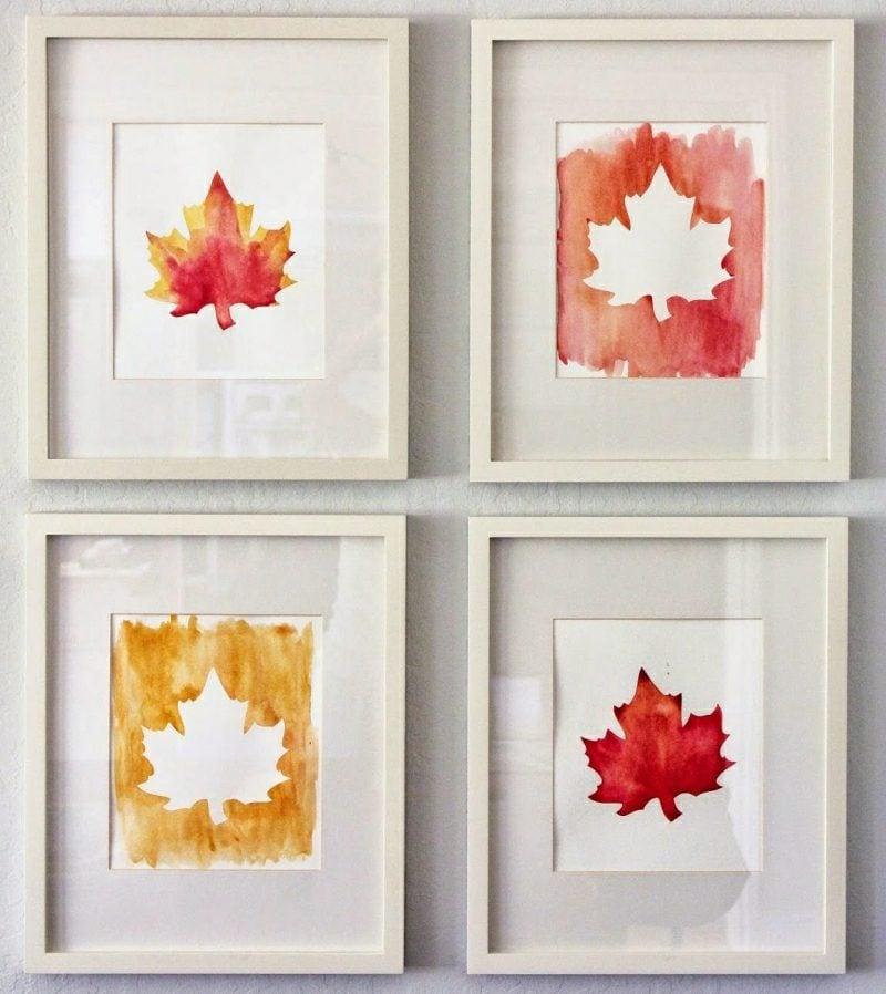 Herbstdeko Wand Bilder Blätter als Schablon