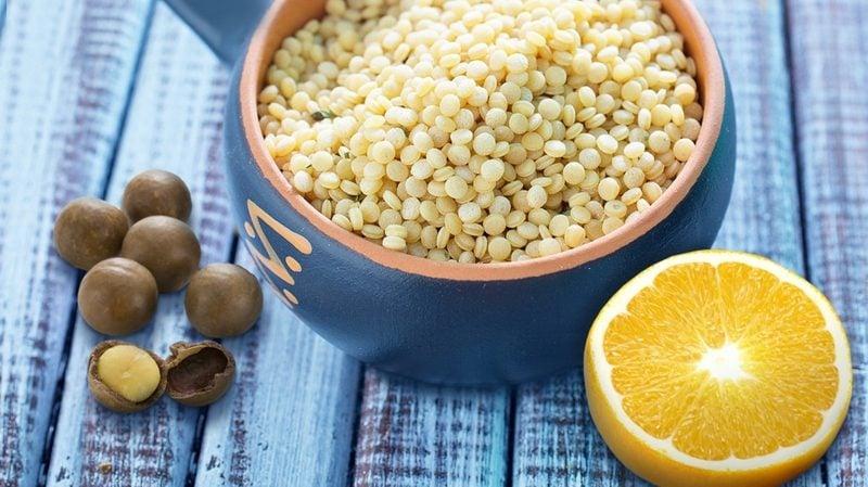 Cous Cous gesund Rezepte Dessert mit Orange und Macadamia