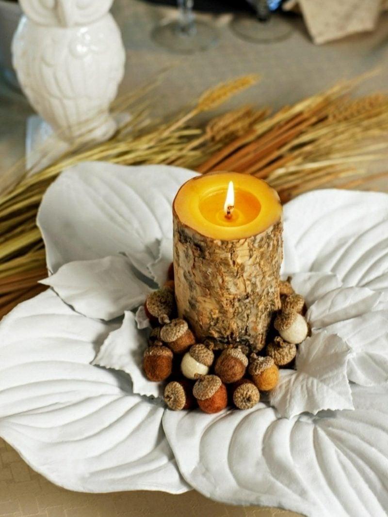 Herbstdeko Blätter aus Modeliermasse Kerze Eichel