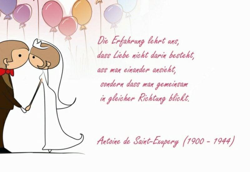 Spüche Glück Hochzeit Zitat von Exupery