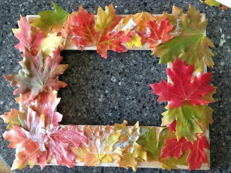 Herbstdeko Ideen Fotorahmen Herbstlaub