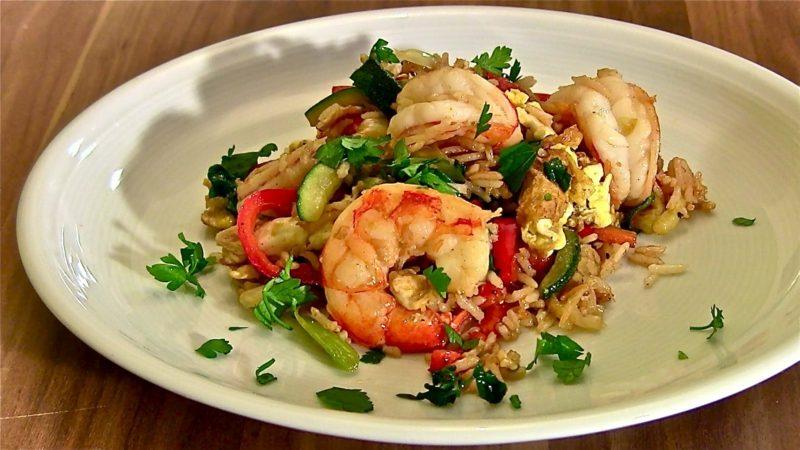 low carb Produkte Garnelen mit Gemüse