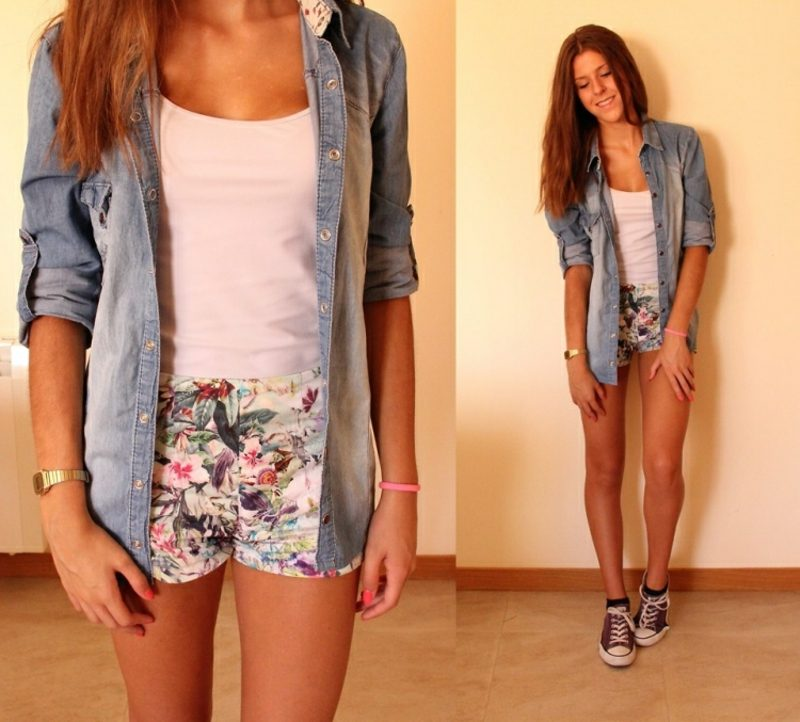 florale Hotpants langes Jeans Hemd Sommer Outfit