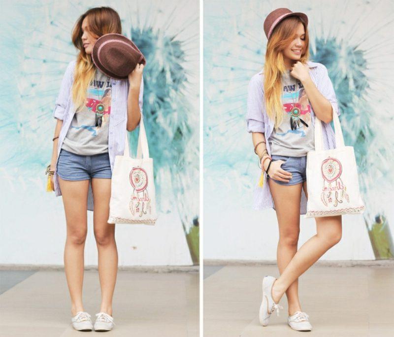 Jeans Hotpants Hut langes Hemd Boho Style