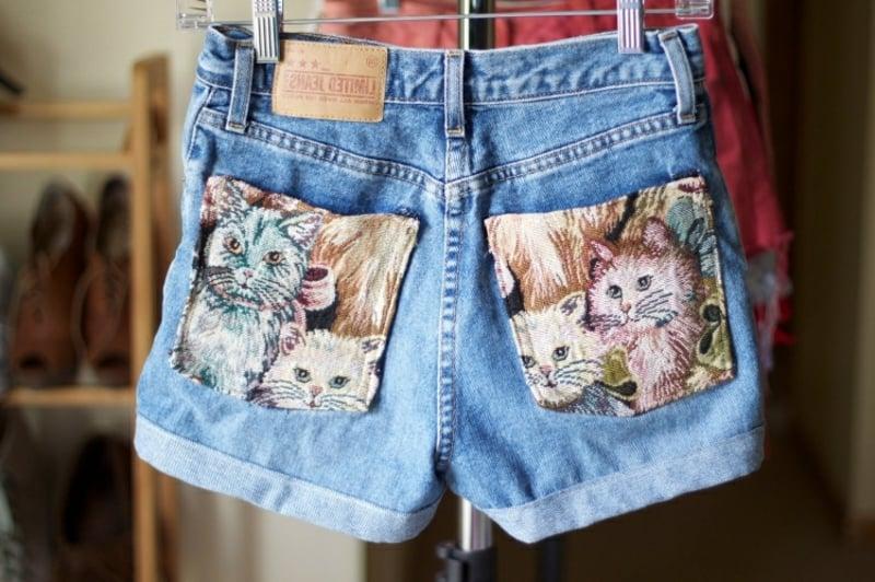 Hotpants Denim Katzenmuster herrlicher Look