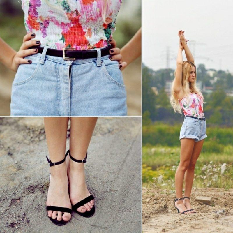 Hotpants Jeans florales Top Ledergürtel