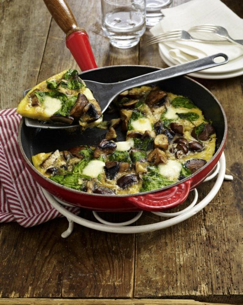 kohlenhydratfreie Lebensmittel Rezepte Omelett mit Spinat und Pilzen