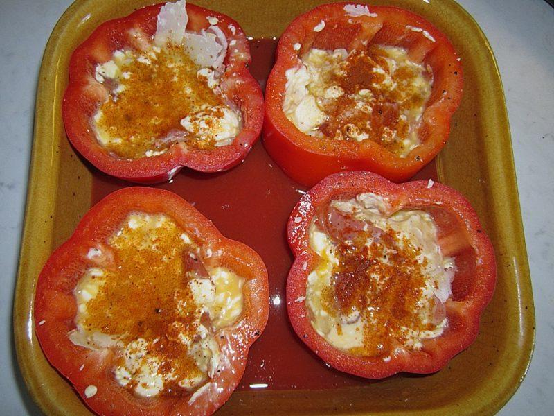 Abendessen Abnehmen Paprikaschoten mit Eiern