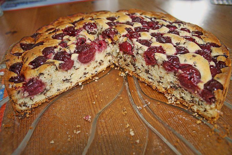 Kuchen backen ohne Ei veganer Schoko-Kirsch-Kuchen
