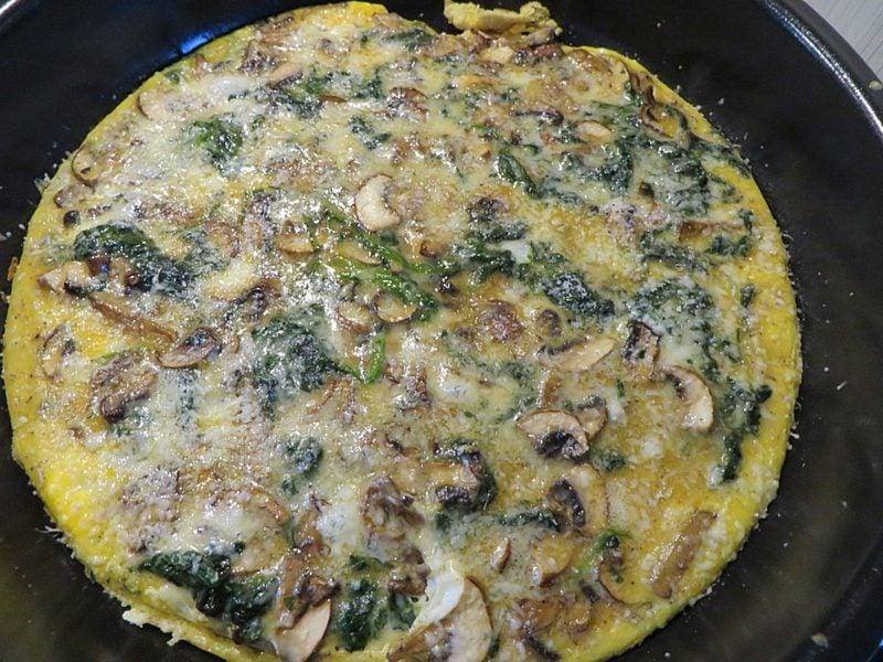 low carb Abendessen Spinat-Pilz-Omelett