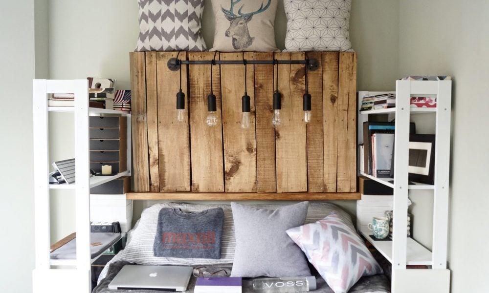 kopfteil f r bett aus europaletten selber bauen diy anleitung diy m bel zenideen. Black Bedroom Furniture Sets. Home Design Ideas