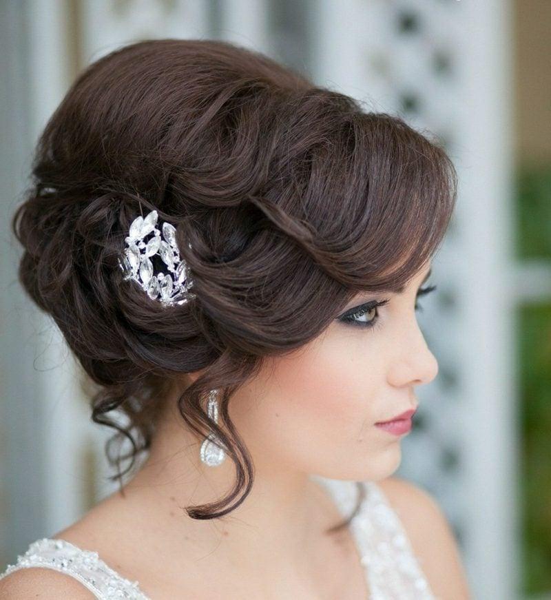 Hochsteckfrisuren mit Locken Braut Haarschmuck