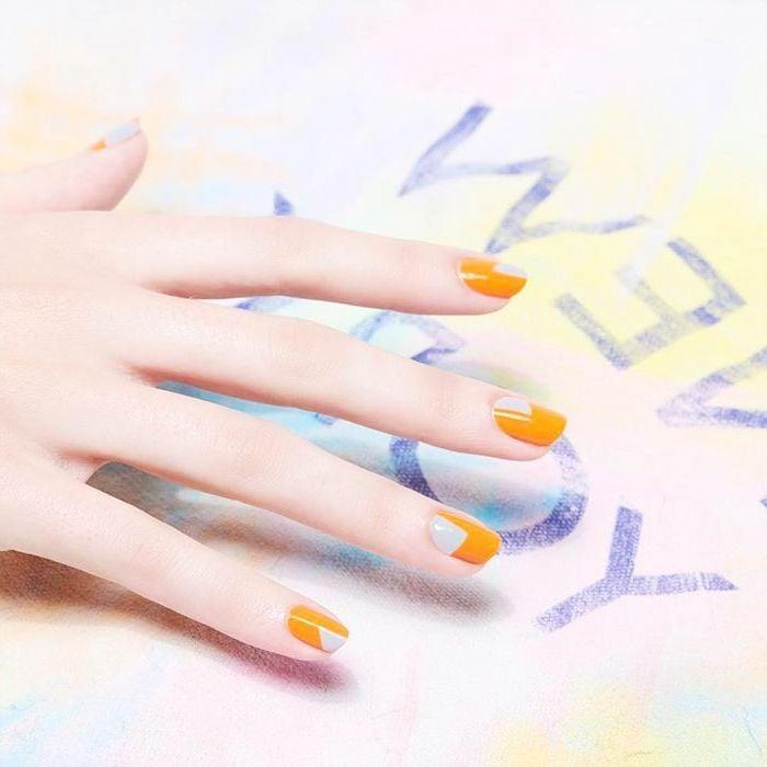 Gelbe Fingernägel für den Sommer