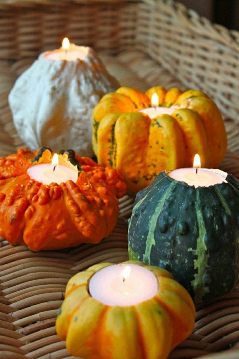 Herbstdeko Kürbisse als Kerzenhalter