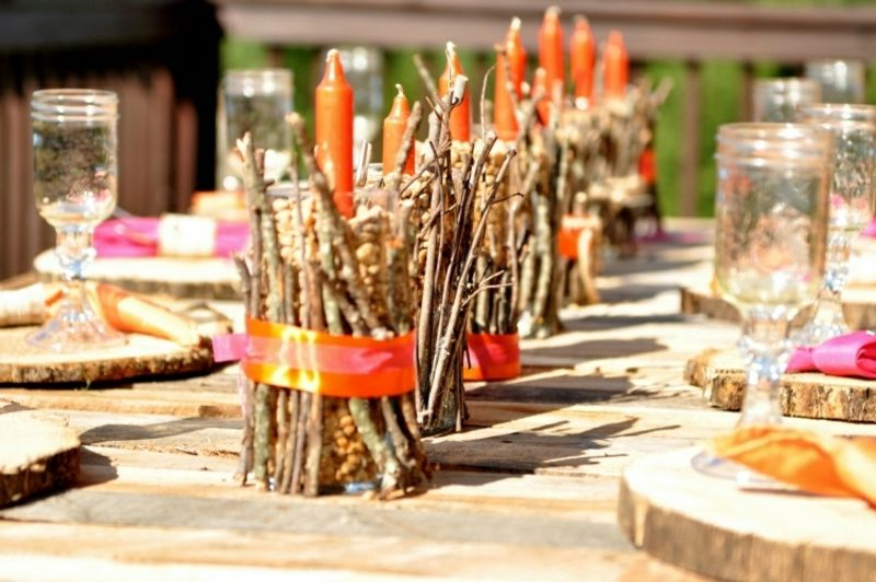 Herbstdeko Tisch natürlich kreative Ideen