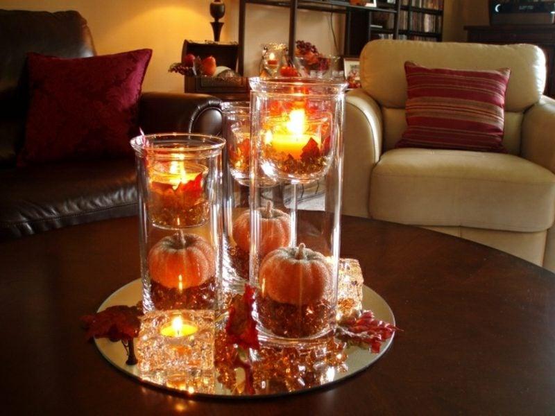 Herbstdeko Tisch Wohnzimmer herrlicher Look