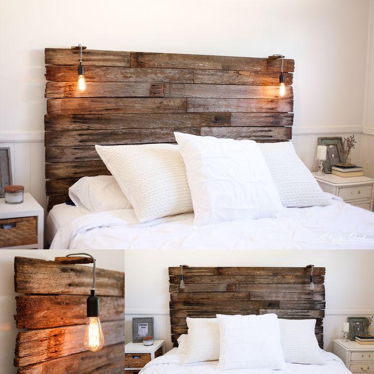 Kopfteil mit Lampen für DIY Bett aus Europaletten