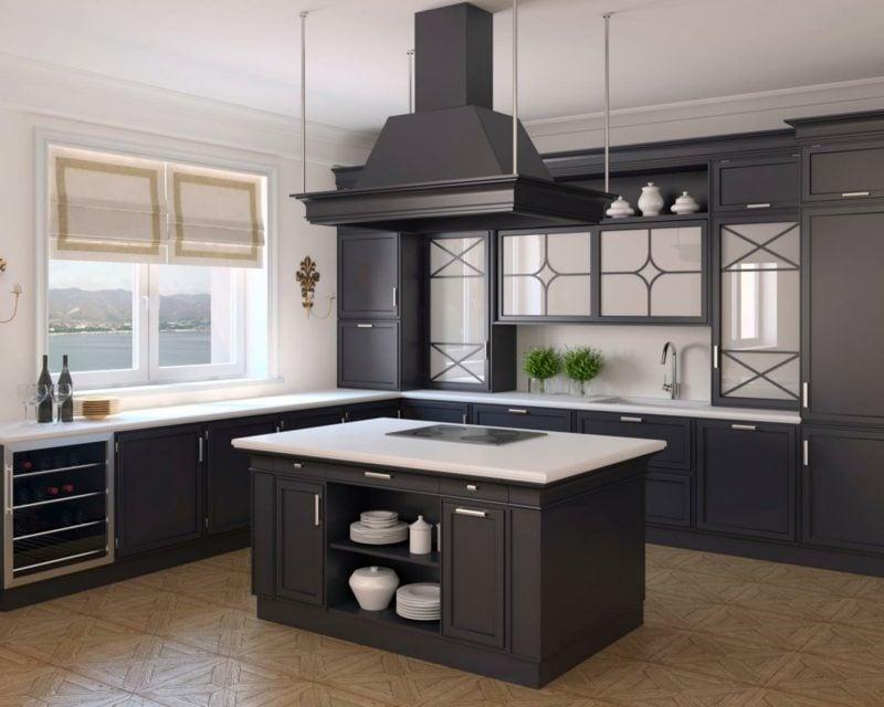küchengestaltung offene küche theke schwarz