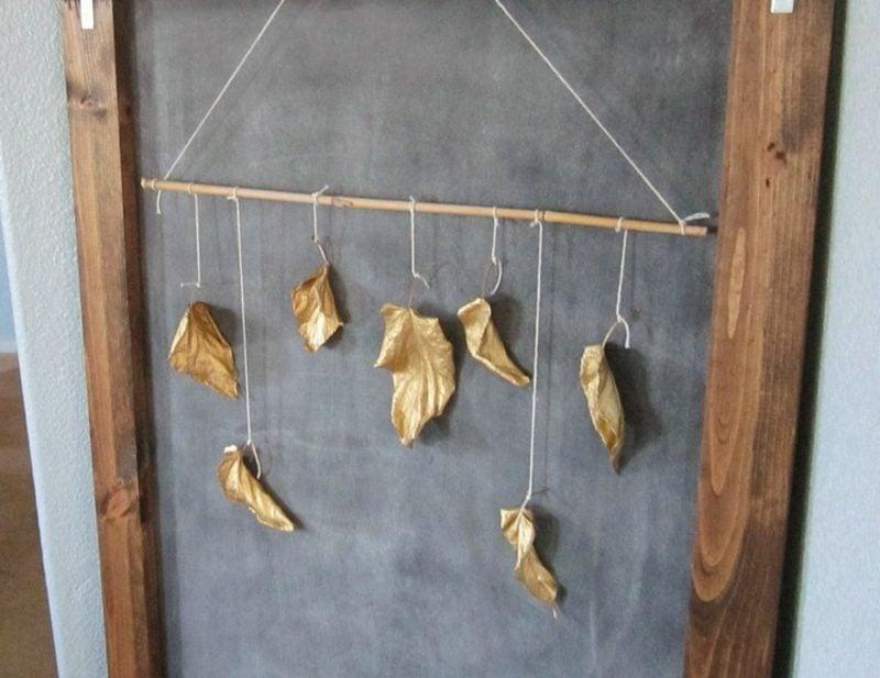 Herbstdeko selber basteln interessante Ideen Wand