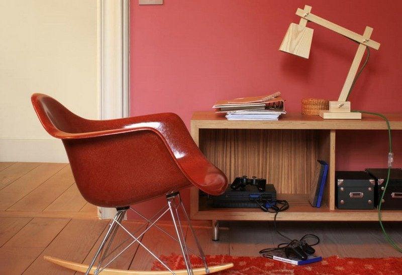 Wandfarben Ideen Wohnzimmer Akzentwand Beerenrot
