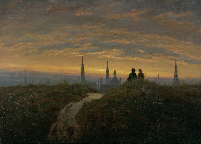 Romantik Kunst Carl Gustav Carus Blick auf Dresden bei Sonnenuntergang