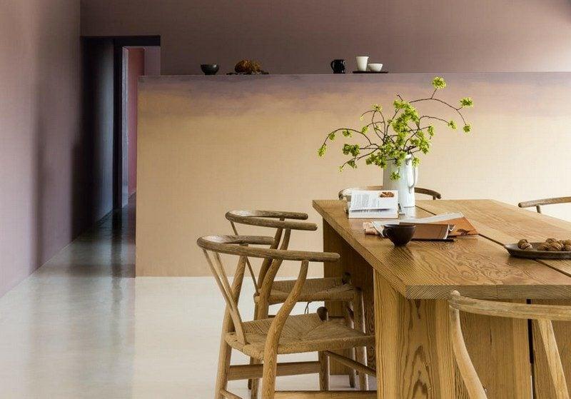 Wandfarben Ideen Wohnzimmer mit Essbereich Sandfarbe