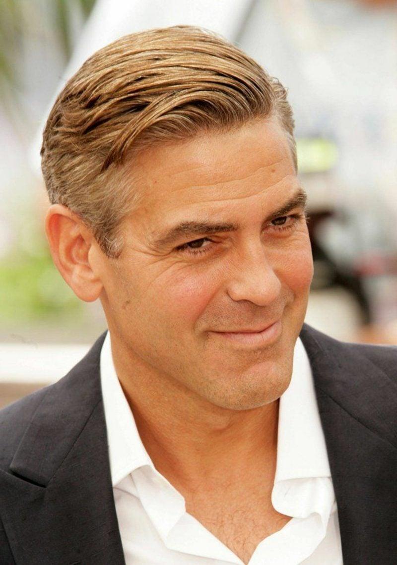 Frisurentrends 2017 Herren Seitenscheitel George Clooney